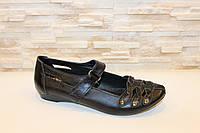 Туфли женские черные натуральная кожа Т151, фото 1