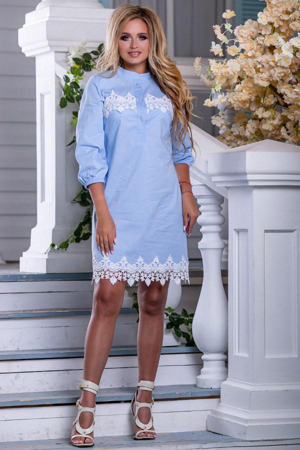 46486020a0c Голубое Платье Рубашка с Кружевной Отделкой Д-1561 — в Категории ...