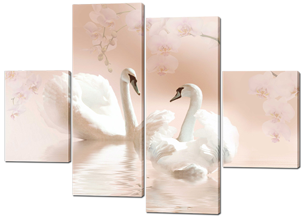 Картина модульная  Лебеди в светлых тонах