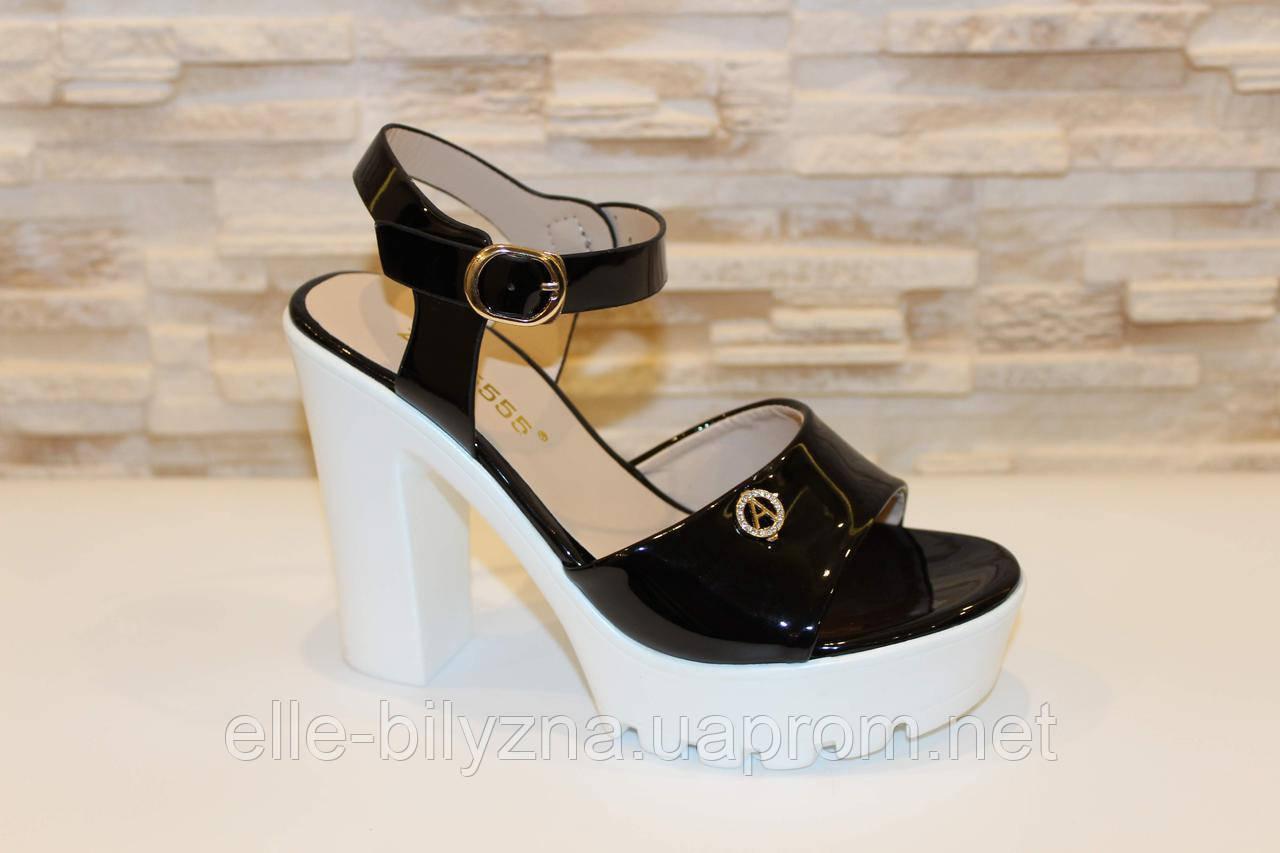 Босоножки черные женские на каблуке Б65