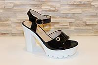 Босоножки черные женские на каблуке Б65, фото 1