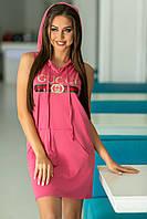 Трикотажное платье-туника с капюшоном украшенное пайетками  (42-52)