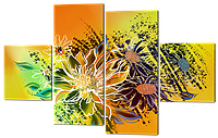 Модульная картина Современные цветы