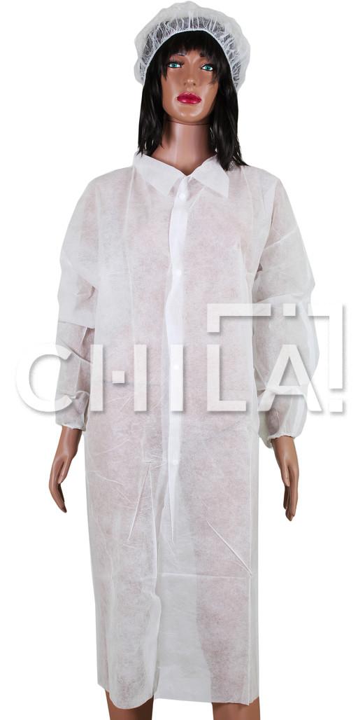 Халат одноразовый медицинский на кнопках без манжетов, Белый (10 шт/уп)