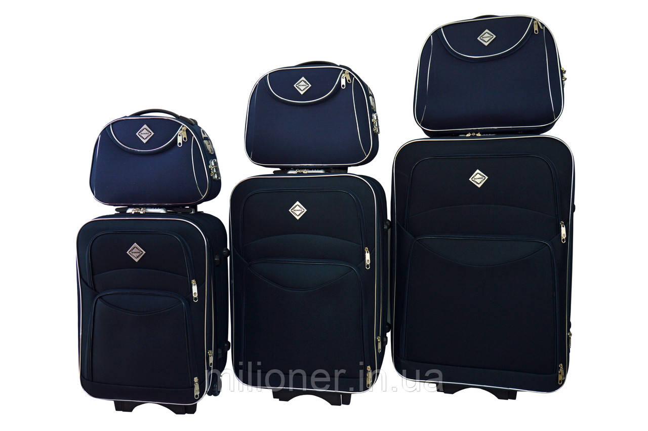 Набор чемоданов и кейс 4в1 Bonro Style синий