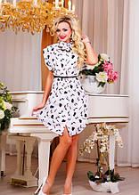 Легкое платье рубашка с поясом в комплекте Д-1566
