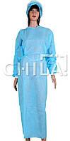 Халат одноразовый хирургический на завязках с манжетами, Голубые (10 шт/уп)