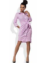 Хлопковое платье рубашка с поясом Д-1567