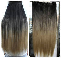 Волосы на заколках тресс затылочная термо волосы тресс омбре черный светло-русый длина 60см