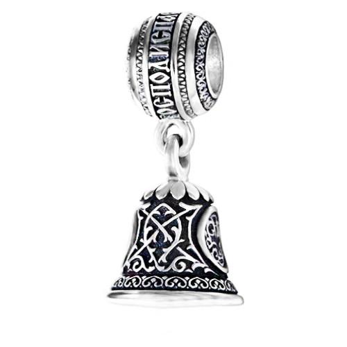 """Шарм Бусина серебряная Колокольчик  с молитвой """"Господи, спаси и сохрани меня"""" Б239-R"""