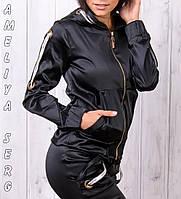 Стильный атласный спортивный костюм женский Турция на молнии XS S M L XL чёрный, фото 1