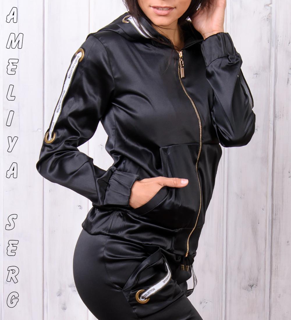 Стильный атласный спортивный костюм женский Турция на молнии XS S M L XL  чёрный - Оптово-розничный 6305582a867