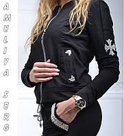 Турецкий брендовый гламурный спортивный костюм женский чёрный , фото 1