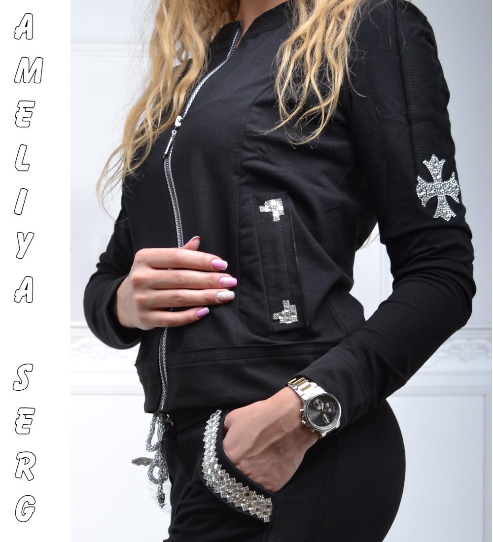 Турецкий брендовый гламурный спортивный костюм женский чёрный -  Оптово-розничный интернет-магазин женской одежды d39fced9575