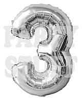 Фольгированный шар цифра 3 Серебро Китай, 80 см (30')