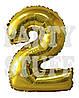 Фольгированная цифра 2 Золото, 80 см