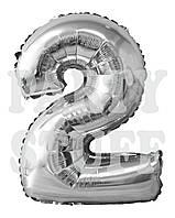 Фольгированная цифра 2 Серебро, 80 см