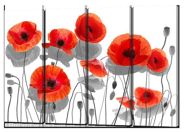 Модульная картина Цветы в серых и красных тонах