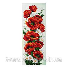 Т-0744 Красные маки. ВДВ. 27х68 см. Схема на ткани для вышивания бисером.