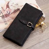 Женский кошелек из нубука Pretty большой черный, фото 1