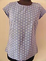 Блуза летняя, очень легкая, ткань прошва перфорация, голубая, мелкий одуванчик, размер 44 код 2330М, фото 1
