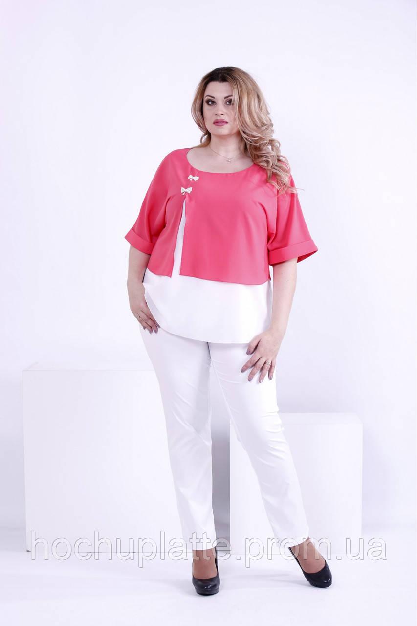 b0a4812616f Коралловая с белым блузка из креп-шифона   0870-2  продажа