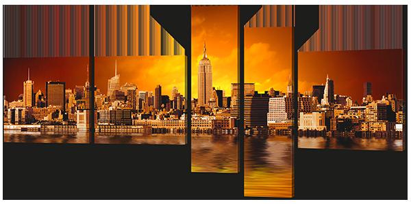 Модульная картина Город на закате