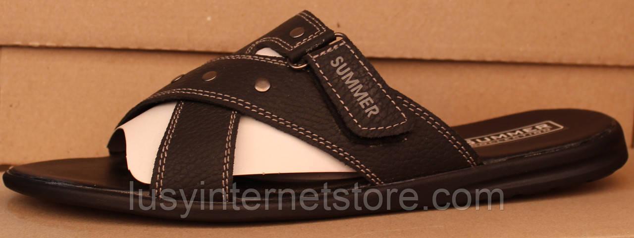 Сабо мужские  черные кожаные от производителя модель в