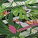 Хлопковая ткань польская попугаи белые в зеленых листьях на черной полоске, фото 3