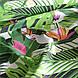 Хлопковая ткань польская попугаи белые в зеленых листьях на черной полоске, фото 4
