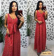 Длинное летнее платье в горошек 22031805 400