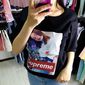 """Футболка oversize чёрная """"Supreme""""- 513-005, фото 2"""