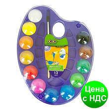 Акварельные краски на палитре, 12 цветов, натуральная кисть, фиолетовая ZB.6558-07