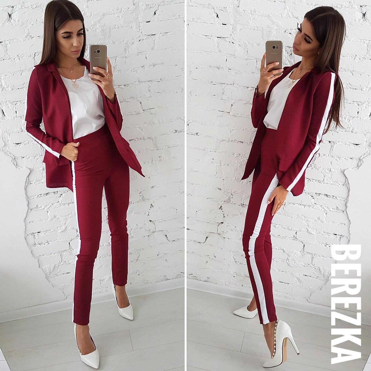 543bb8cc2687 Купить Брючный женский костюм с пиджаком и лампасами 6610716 540 ...