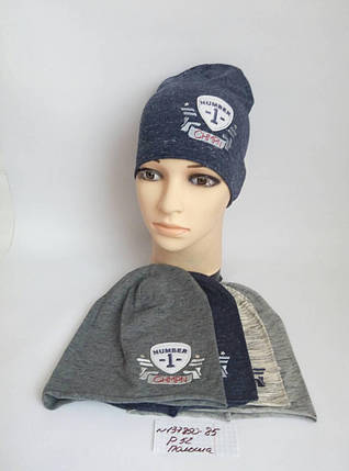 Подростковая шапка для мальчика Номер 1 р. 52, фото 2