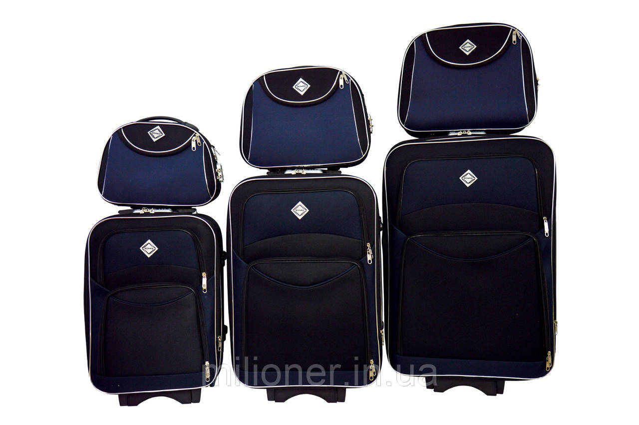Набор чемоданов и кейс 4в1 Bonro Style черно-т. синий