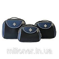 Набор чемоданов и кейс 4в1 Bonro Style черно-т. синий, фото 2