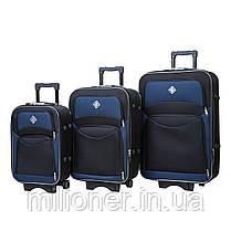 Набор чемоданов и кейс 4в1 Bonro Style черно-т. синий, фото 3