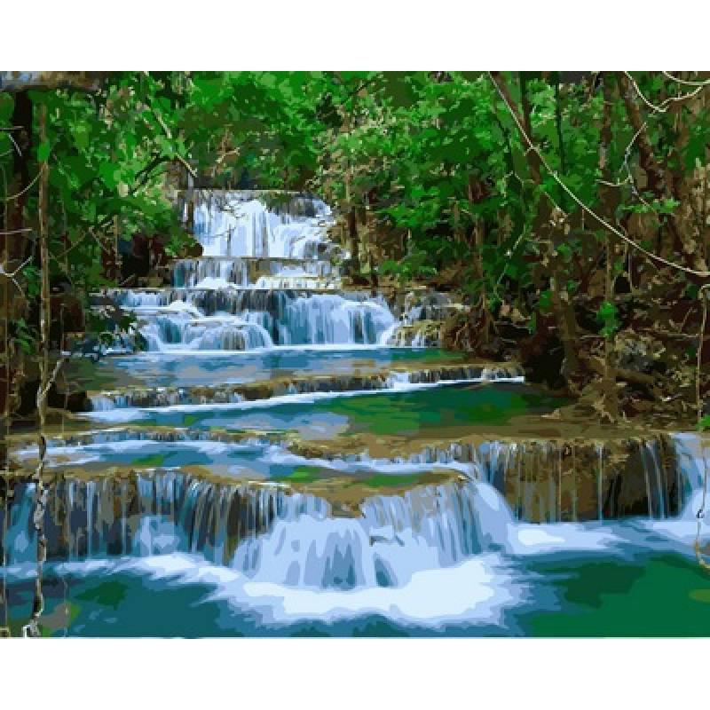 Картина по номерам Водопад Эраван Тайланд, 40x50 см., Babylon