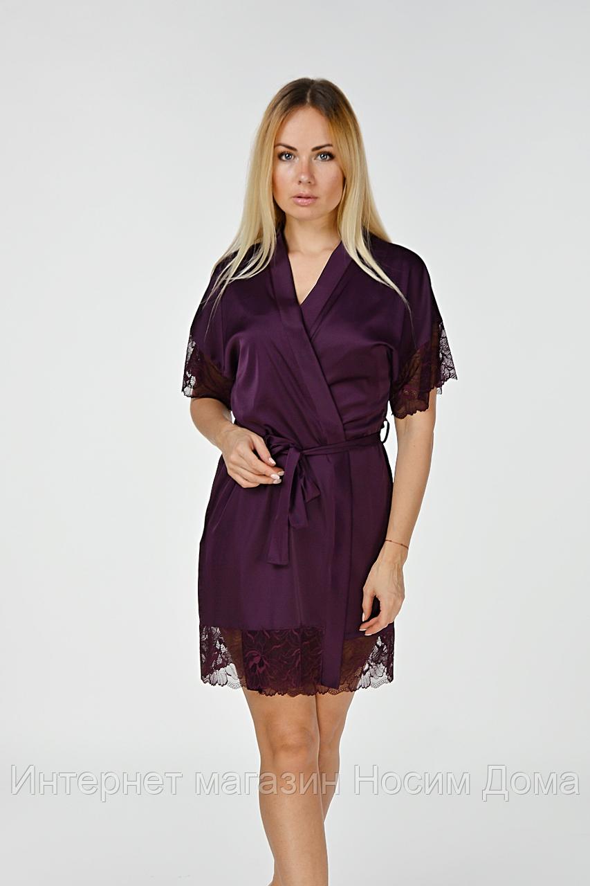 Женский кружевной халат из шелка Хс041н Сливовый  продажа fdfdcb72f1e67