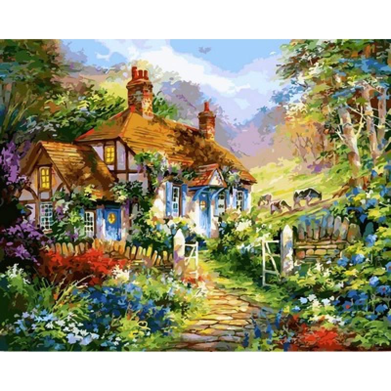 Картина по номерам Дом в цветах, 40x50 см., Babylon