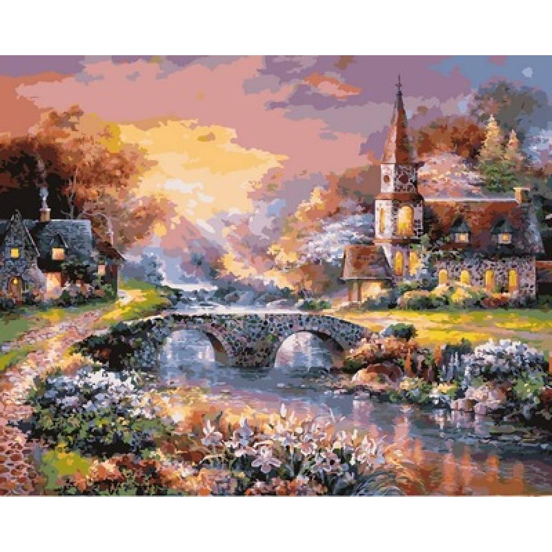 Картина по номерам Мост через реку, 40x50 см., Babylon
