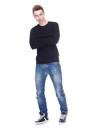 Футболка мужская, с длинным рукавом, круглая горловина черный, фото 2