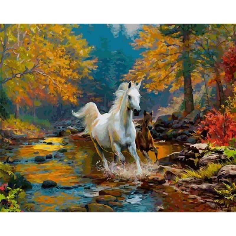Картина по номерам Лошадь и жеребенок скачут по ручью, 40x50 см., Babylon