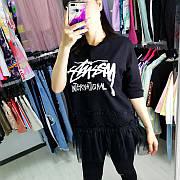 Чёрная футболка бусины и фатин-513-6611