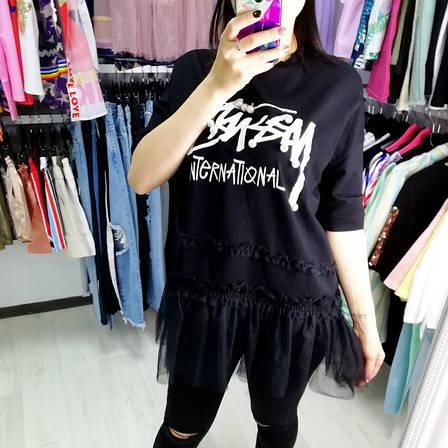 Чёрная футболка бусины и фатин-513-6611, фото 2