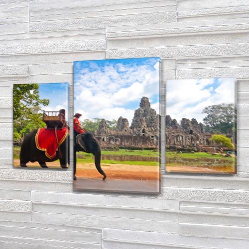 Интернет магазин картин купить модульную картину Всадник на слоне на Холсте син., 45х70 см, (30x20-2/45x25)