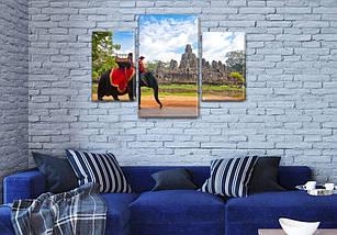 Интернет магазин картин купить модульную картину Всадник на слоне на Холсте син., 45х70 см, (30x20-2/45x25), фото 3
