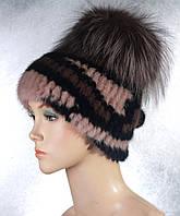 Женская меховая шапка Фонарик милитари из норки
