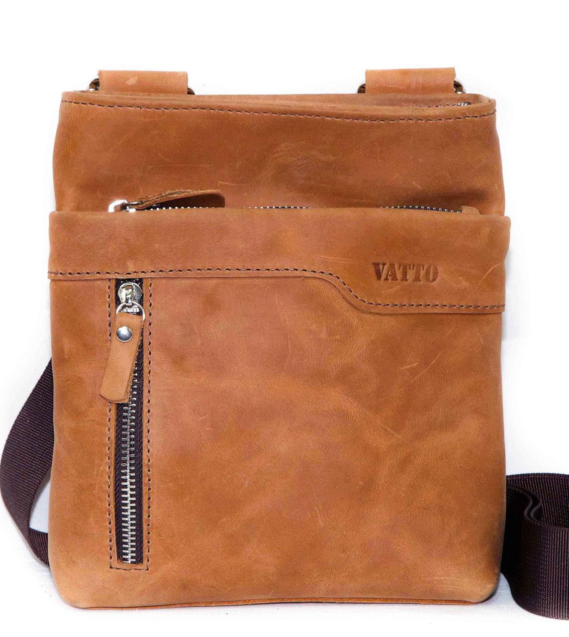 Мужская сумка планшетка натуральная кожа рыжая